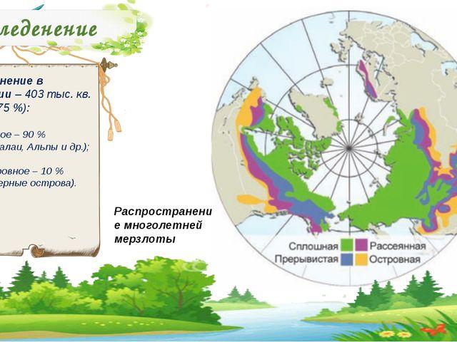 Оледенение Оледенение в Евразии – 403 тыс. кв. км. (о,75 %): Горное – 90 % (Г...