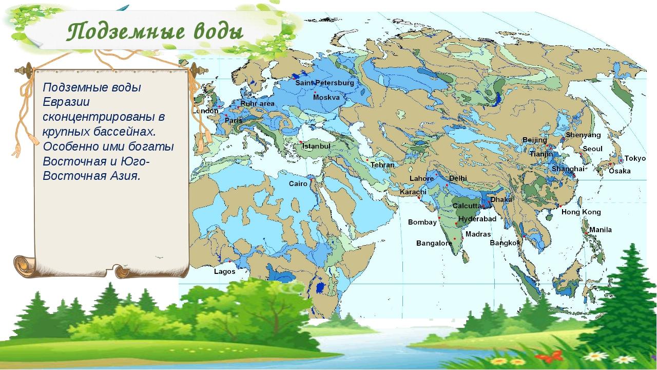 Подземные воды Подземные воды Евразии сконцентрированы в крупных бассейнах. О...