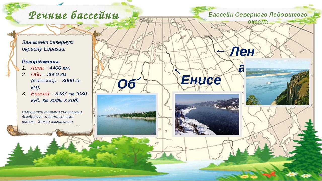 Речные бассейны Бассейн Северного Ледовитого океана Занимает северную окраину...