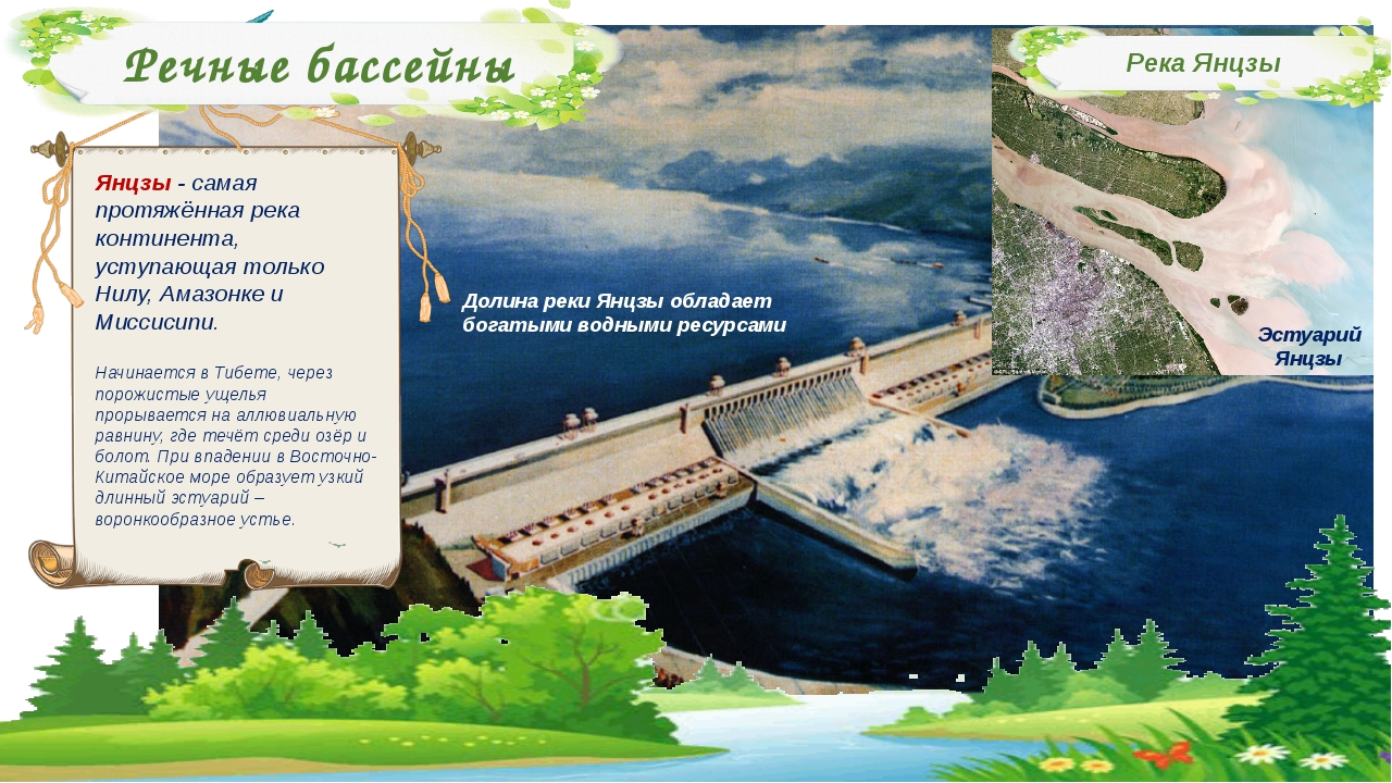Речные бассейны Река Янцзы Янцзы - самая протяжённая река континента, уступаю...
