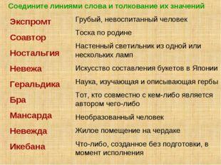 Соедините линиями слова и толкование их значений Экспромт Соавтор Ностальгия