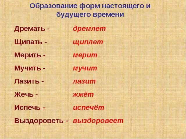 Образование форм настоящего и будущего времени Дремать - Щипать - Мерить - Му...
