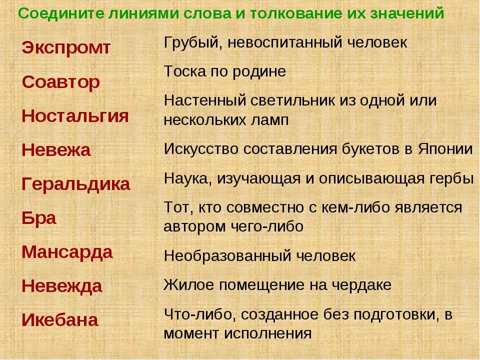 Соедините линиями слова и толкование их значений Экспромт Соавтор Ностальгия...