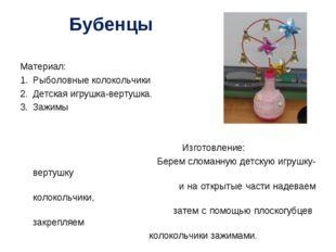 Бубенцы Материал: Рыболовные колокольчики Детская игрушка-вертушка. Зажимы Из