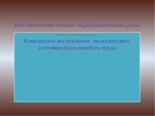 МОУ Николаевская основная общеобразовательная школа» Научно- исследовательска