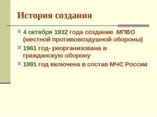 История создания 4 октября 1932 года создание МПВО (местной противовоздушной