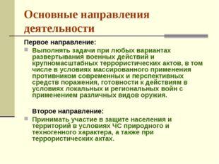 Основные направления деятельности Первое направление: Выполнять задачи при лю