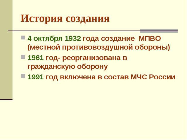 История создания 4 октября 1932 года создание МПВО (местной противовоздушной...
