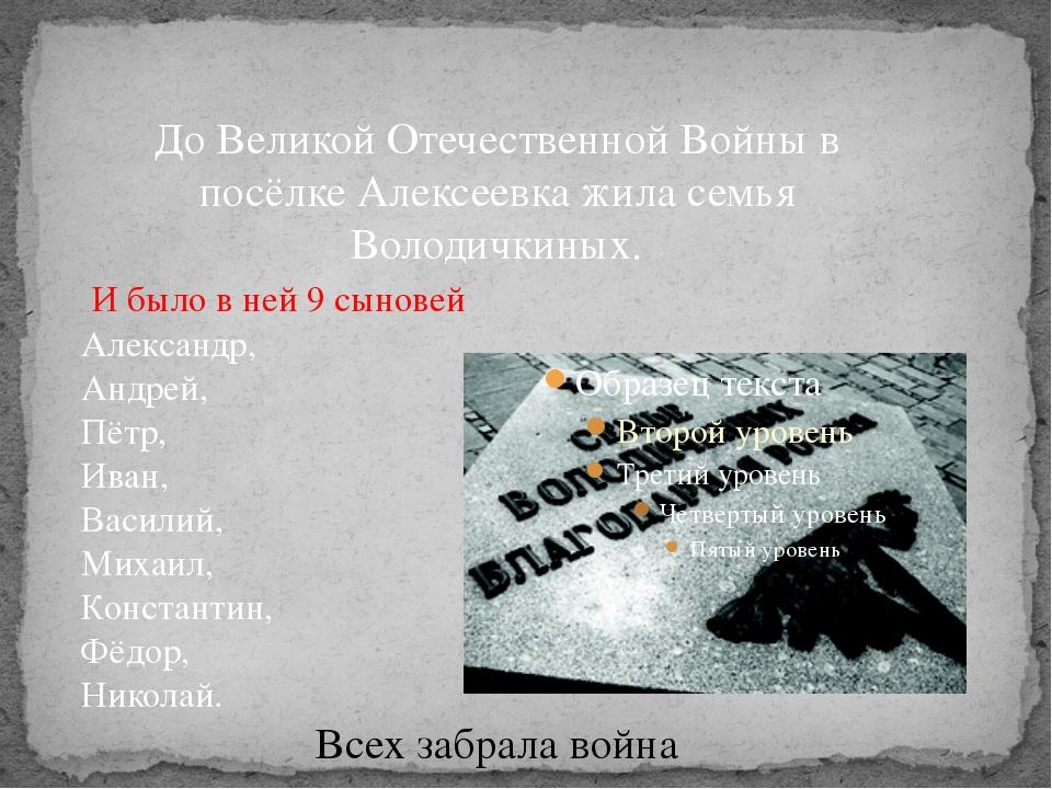 До Великой Отечественной Войны в посёлке Алексеевка жила семья Володичкиных....