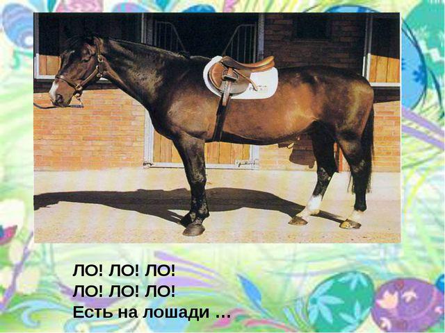 ЛО! ЛО! ЛО! ЛО! ЛО! ЛО! Есть на лошади …