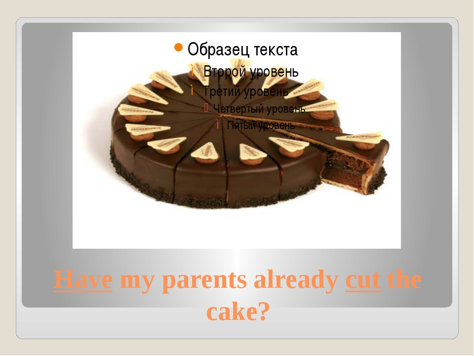 Have my parents already cut the cake?