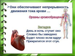 Они обеспечивают непрерывность движения тока крови … Органы кровообращения За