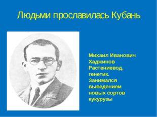 Людьми прославилась Кубань Михаил Иванович Хаджинов Растениевод, генетик. Зан