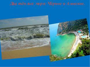 Два тёплых моря: Чёрное и Азовское.