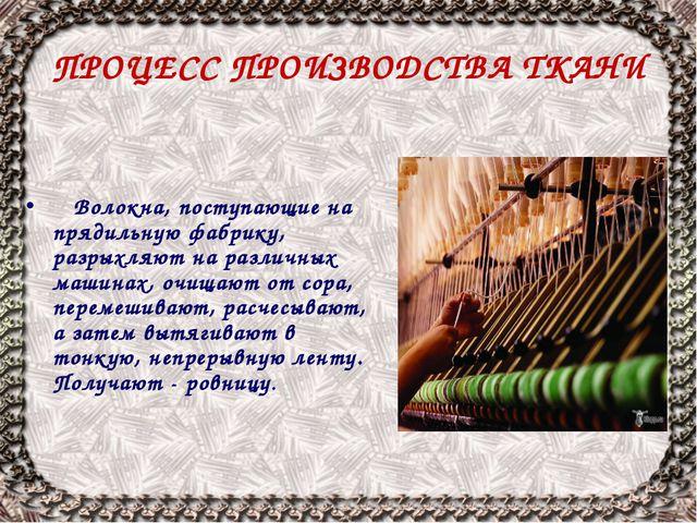 ПРОЦЕСС ПРОИЗВОДСТВА ТКАНИ Волокна, поступающие на прядильную фабрику, разрых...