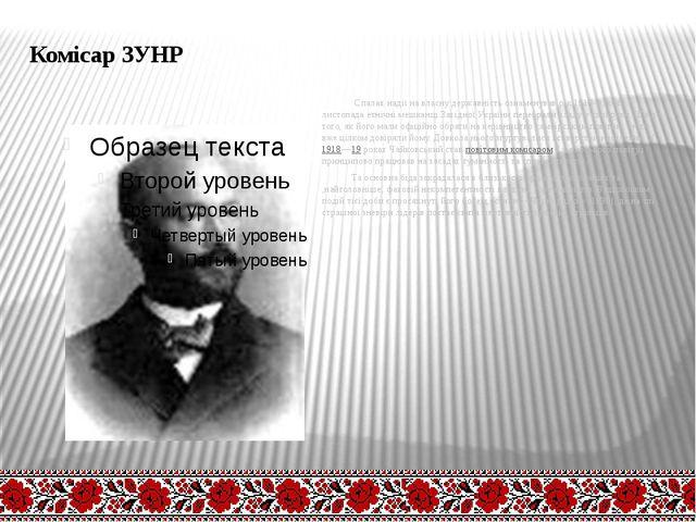 Комісар ЗУНР Спалах надії на власну державність ознаменував рік 1918-й, коли...