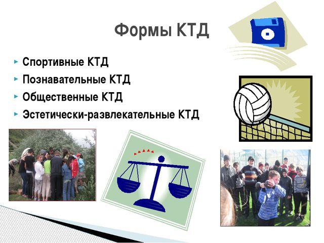 Спортивные КТД Познавательные КТД Общественные КТД Эстетически-развлекательны...