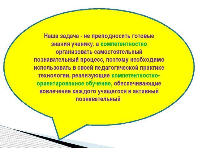 Наша задача - не преподносить готовые знания ученику, а компетентностно орган...