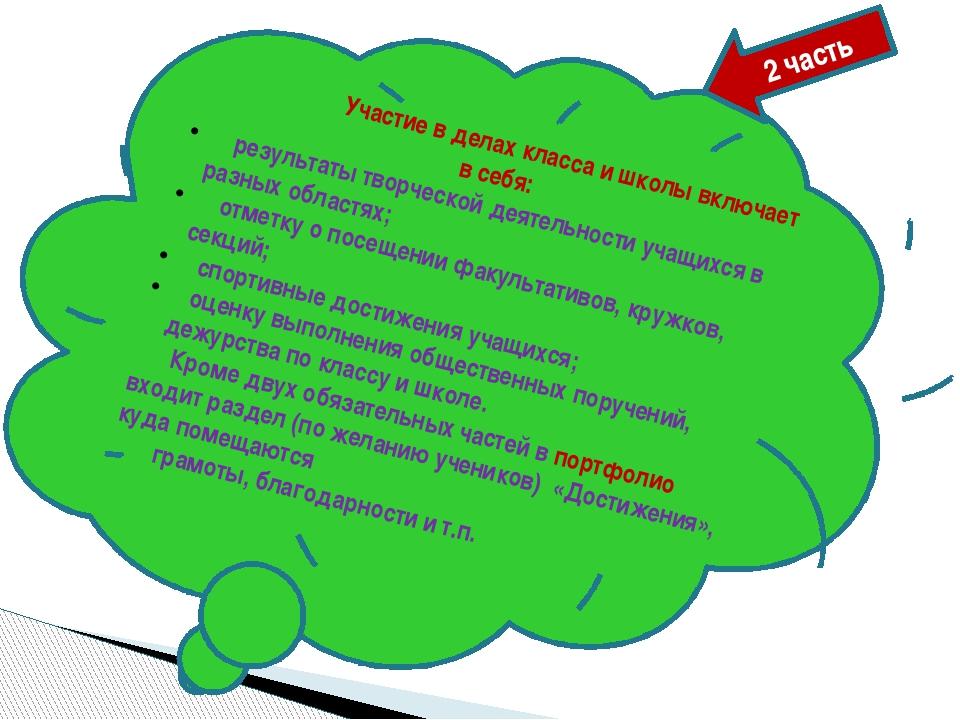 Участие в делах класса и школы включает в себя: результаты творческой деятел...