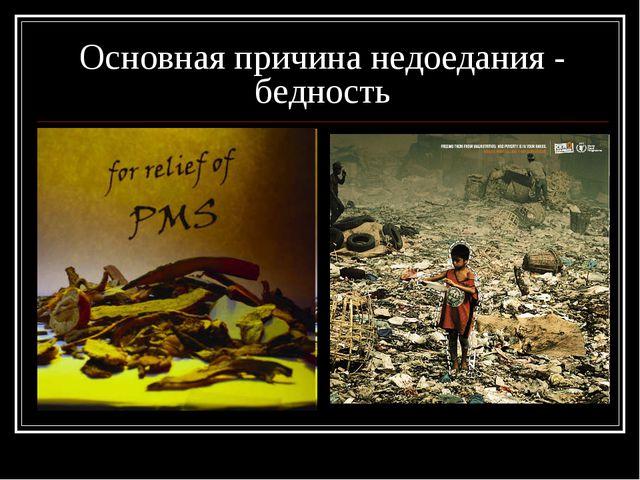 Основная причина недоедания - бедность