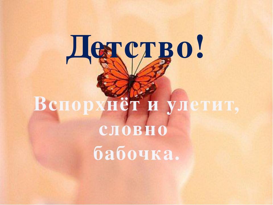 Детство! Вспорхнёт и улетит, словно бабочка.