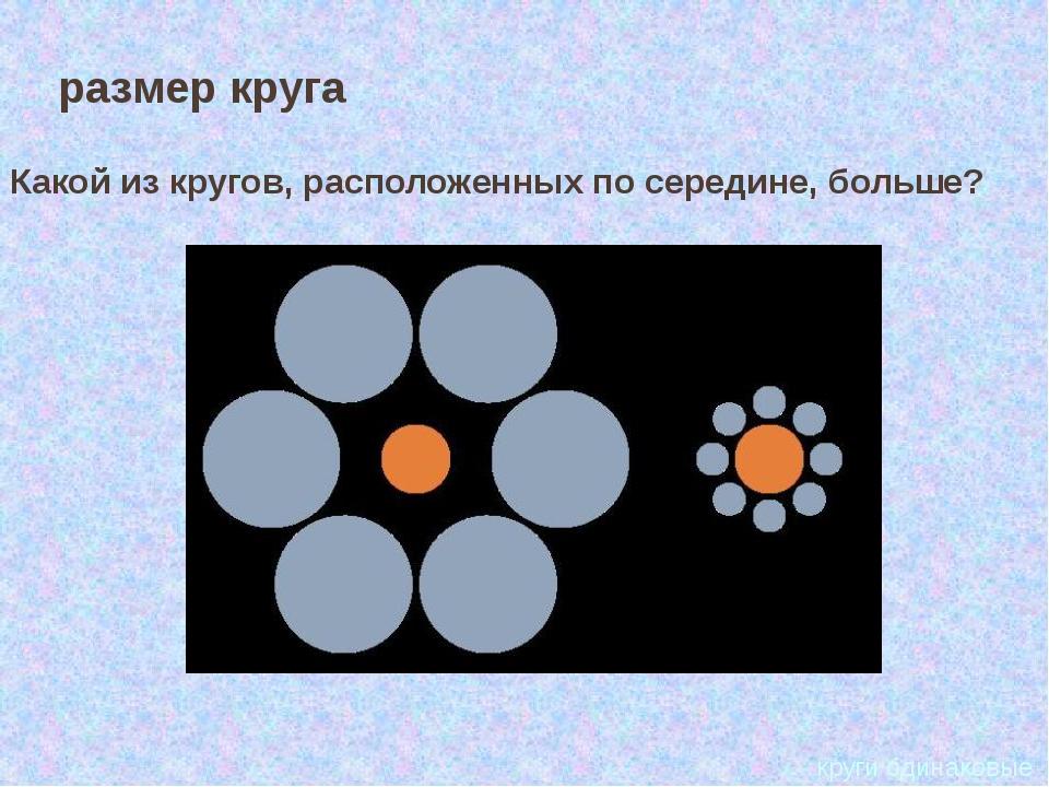 круги одинаковые размер круга Какой из кругов, расположенных по середине, бо...