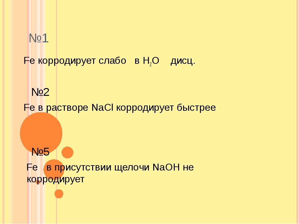 №1 Fe корродирует слабо в Н2О дисц. №2 Fe в растворе NaCl корродирует быстре...