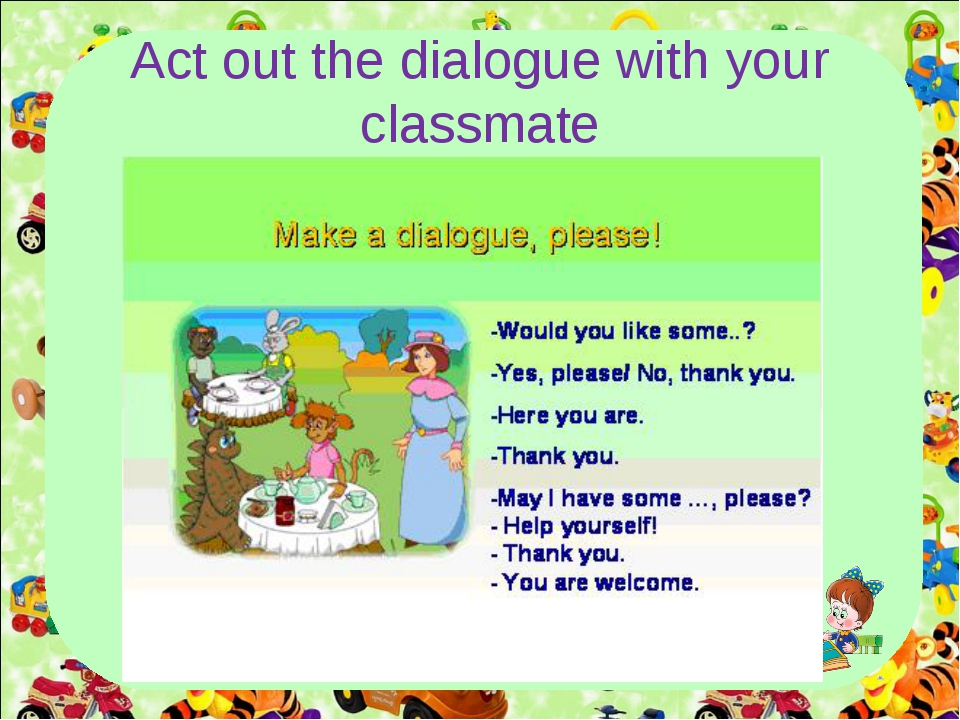 Act out the dialogue with your classmate