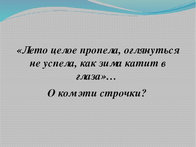 «Лето целое пропела, оглянуться не успела, как зима катит в глаза»… О ком эт...