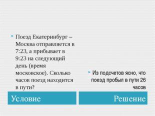 Условие Решение Поезд Екатеринбург – Москва отправляется в 7:23, а прибывает