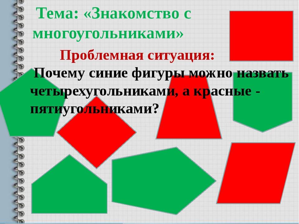 Тема: «Знакомство с многоугольниками» Проблемная ситуация: Почему синие фигу...