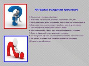 Алгоритм создания кроссенса 1.Определение тематики, общей идеи 2.Выделение 8