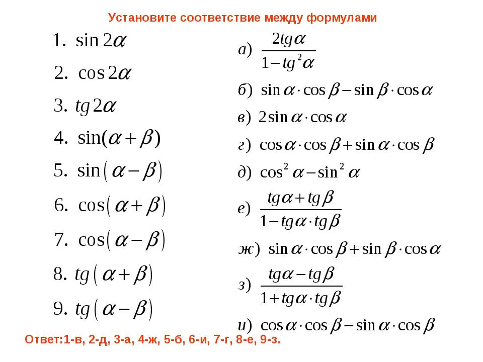 Установите соответствие между формулами Ответ:1-в, 2-д, 3-а, 4-ж, 5-б, 6-и, 7...