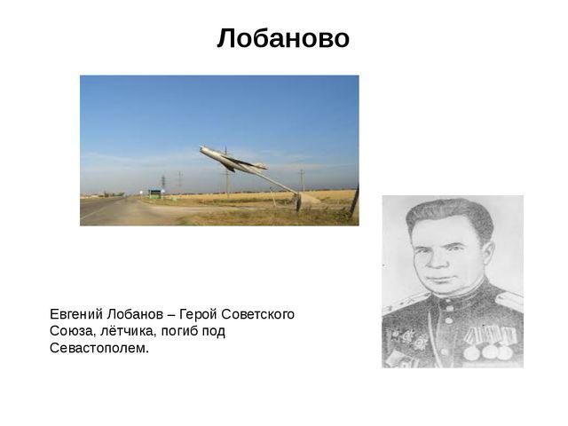Лобаново Евгений Лобанов – Герой Советского Союза, лётчика, погиб под Севасто...