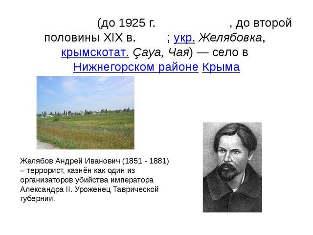 Желя́бовка(до 1925г.Андре́евка, до второй половины XIXв.Чая́;укр.Желяб...