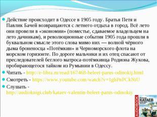 Действие происходит вОдессев1905 году. Братья Петя и Павлик Бачей возвраща