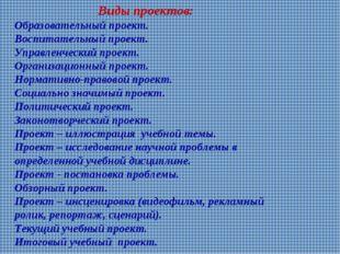 Виды проектов: Образовательный проект. Воспитательный проект. Управленческий