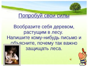 Попробуй свои силы Вообразите себя деревом, растущим в лесу. Напишите кому-ни