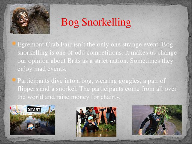 Egremont Crab Fair isn't the only one strange event. Bog snorkelling is one o...
