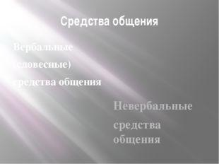 Средства общения Вербальные (словесные) средства общения Невербальные средств