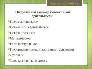 Педсовет 2015-2016 у.г. Направления самообразовательной деятельности: Професс