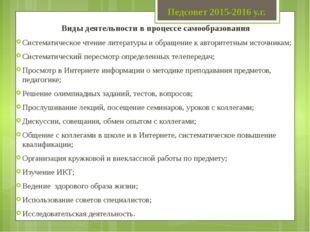 Педсовет 2015-2016 у.г. Виды деятельности в процессе самообразования Системат