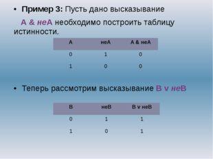Пример 3: Пусть дано высказывание А & неА необходимо построить таблицу истинн