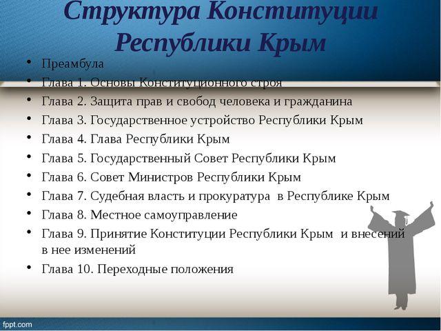 Структура Конституции Республики Крым Преамбула Глава 1. Основы Конституционн...