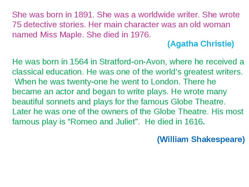 She was born in 1891. She was a worldwide writer. She wrote 75 detective stor...