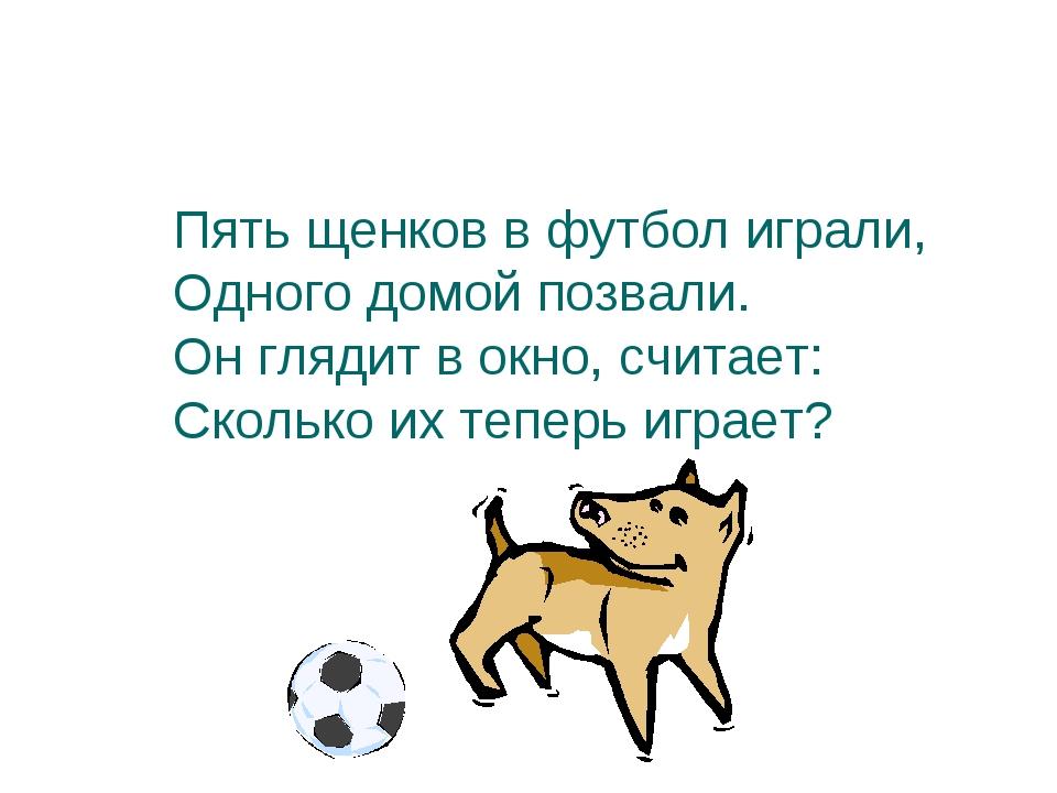 Пять щенков в футбол играли, Одного домой позвали. Он глядит в окно, считает:...