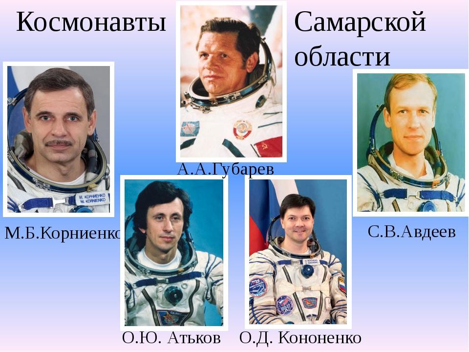М.Б.Корниенко О.Ю. Атьков О.Д. Кононенко С.В.Авдеев А.А.Губарев . Космонавты...
