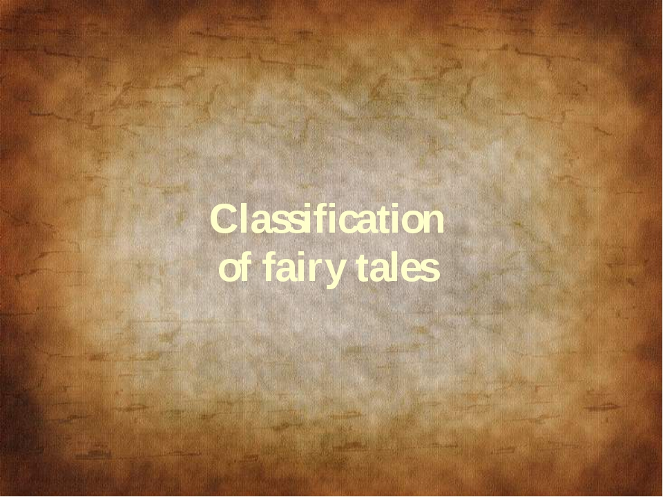 Classification of fairy tales