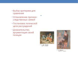 Выбор критериев для сравнения Установление причино-следственных связей Постан