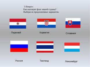 3 Вопрос: Как выглядят флаг нашей страны? Выбери из предложенных вариантов.